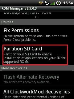 Partitioning SD Card with Rom Manager