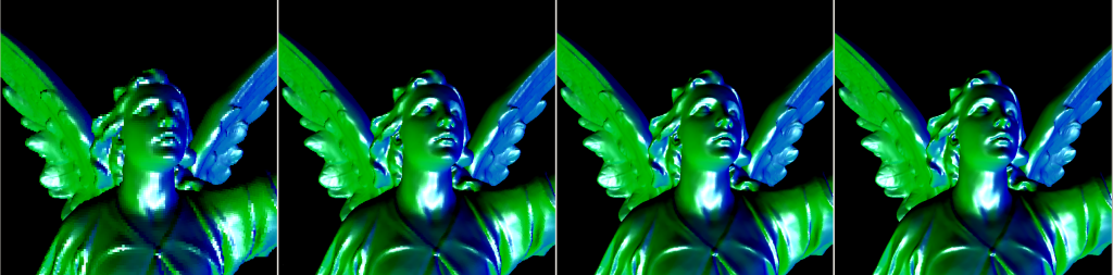 Increasing detail when voxelizing at higher grid sizes: 512, 1024, 2048 and 4096 cubed voxel grids.